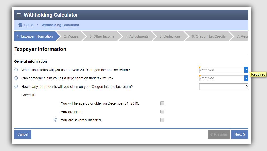 Oregon Withholding Calculator