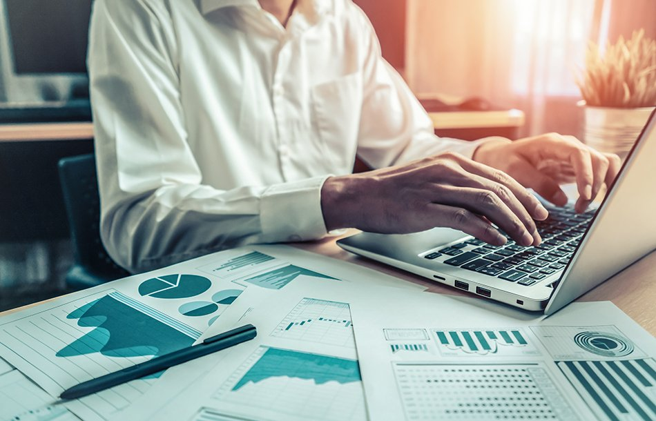 Fractional CFO businessman working computer