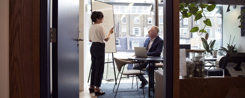Business consultant meeting with her client discussing business processes