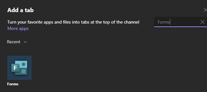 add a form to microsoft teams channel